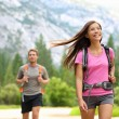People hiking - happy hikers in Yosemite mountains - Stock Photo