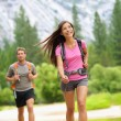 Hiking - couple hikers happy in Yosemite — Stock Photo