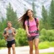 Hiking - couple hikers happy in Yosemite — Stock Photo