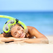 Travel summer vacation beach woman with snorkel — Stock Photo