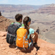 Wanderer im Grand Canyon Panorama genießen — Stockfoto #25234685