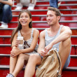 Dating multiracial tourist couple in New York — Stock fotografie