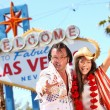 Las Vegas Elvis impersonator having fun - Stock Photo