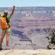 Stock Photo: Grand Canyon hiking womhiker happy and cheerful