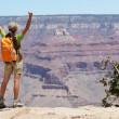 Grand Canyon hiking woman hiker happy and cheerful — Stock Photo