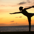 Yoga woman in serene sunset at beach doing pose — Stock Photo #25235133