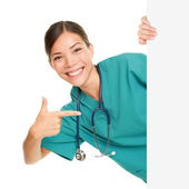 Medical sign person - woman showing blank poster — Stock Photo