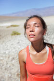 Thirst - dehydrated thirsty woman sweating desert — Stock Photo