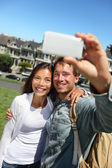 Couple fun taking self-portrait in San Francisco — Stock Photo