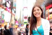 New York City woman as Times Square tourist — Stok fotoğraf