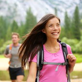 Hiker woman hiking happy — Stock Photo