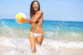 Beach woman having fun laughing enjoying sun — Stock Photo