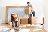 Couple moving in new home house — Stock Photo