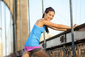 Runner stretching and running, Brooklyn, New York — Stock Photo