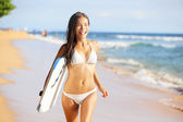 Happy beach - woman surfer having fun — Stock Photo