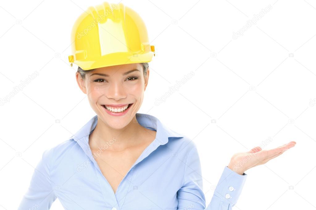 Sombrero Duro Ingeniero O Arquitecto Mujer Mostrando