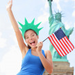 Tourist auf Statue of Liberty, New York, usa — Stockfoto #26073125