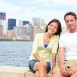 Young couple dating in New York - Stock Photo