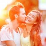 Couple kissing fun — Stock Photo