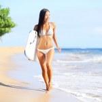 Beach woman fun with body surfboard — Stock Photo