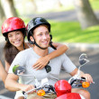 Royalty-Free Stock Photo: Free young couple on scooter on summer vacation