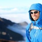 Hiker man trekking portrait — Stock Photo