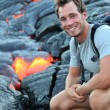 Stock Photo: Hawaii: Hiker seeing lava