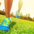 Runner - running shoes closeup — Stockfoto