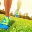 Runner - running shoes closeup — Stock Photo