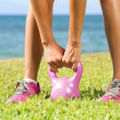 Fitness - kettlebell crossfit woman — Stock Photo