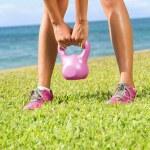 Kettlebell fitness training woman — Stock Photo