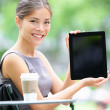 Tablet business woman showing display screen — Stock Photo