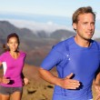 Runners trail running athletes young couple — Stock Photo