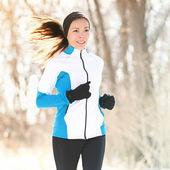 Trail running in winter — Stock Photo