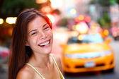 Happy New York City girl — Stock Photo