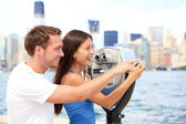 Tourists couple travel in New York — Stock Photo