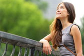 Business woman thinking in Central Park — Stock Photo
