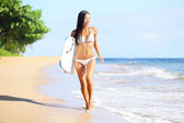 Beach woman fun with body surfboard — Stock Photo