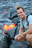 Hawaii: Hiker seeing lava — Stock Photo