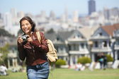 Alamo Square San Francisco Tourist — Stock Photo