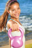 Kettlebell training woman — Stock Photo