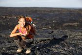 Hiker showing lava on Big Island, Hawaii — Stock Photo