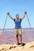Success winner hiker cheering happy — Stock Photo
