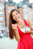Woman eating ice cream in Quebec City — Stock Photo