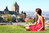 Quebec City with Chateau Frontenac and woman — Stok fotoğraf