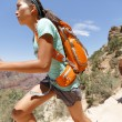 Stock Photo: Trail runner cross country running Grand Canyon