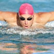 Swimming man athlete butterfly swimmer stroke - Stock Photo