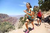 Trail running cross-country runner in Grand Canyon — Stock Photo