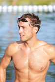 Swimming man portrait - handsome male swimmer — Stock Photo