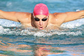 Swimming man athlete butterfly swimmer stroke — Stock Photo